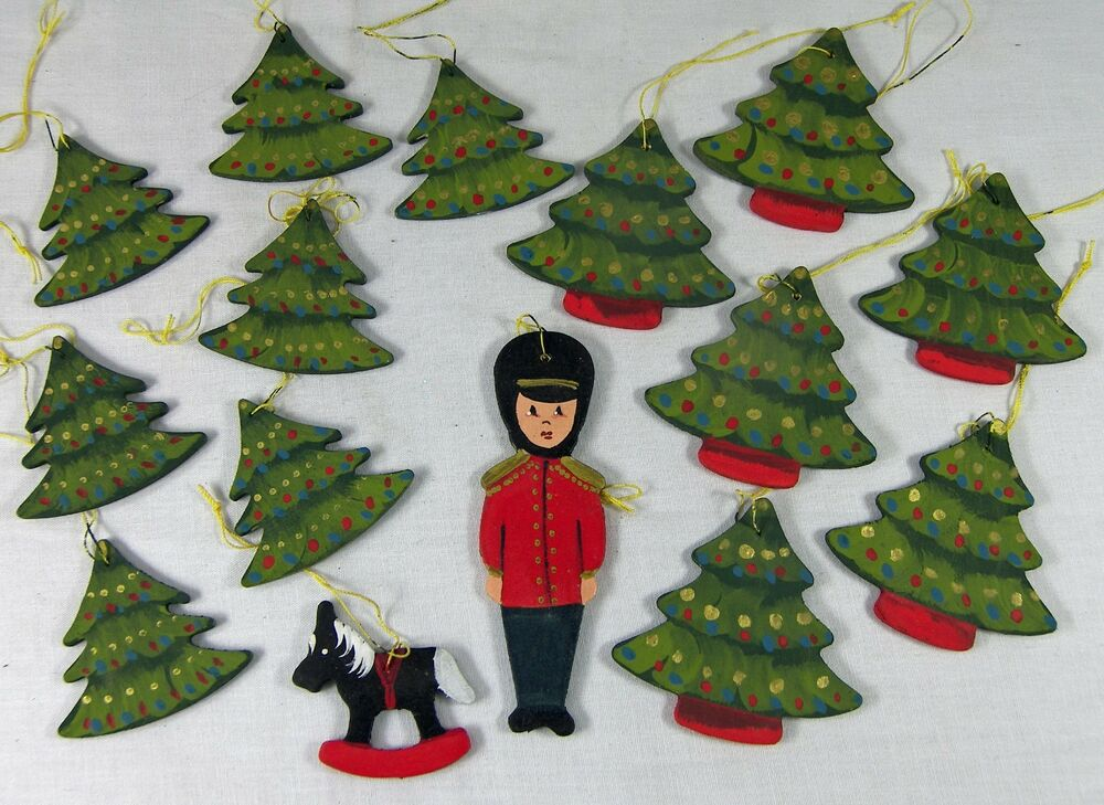 Lot 15 Wood Christmas Ornaments Hand Painted Trees Toy ...