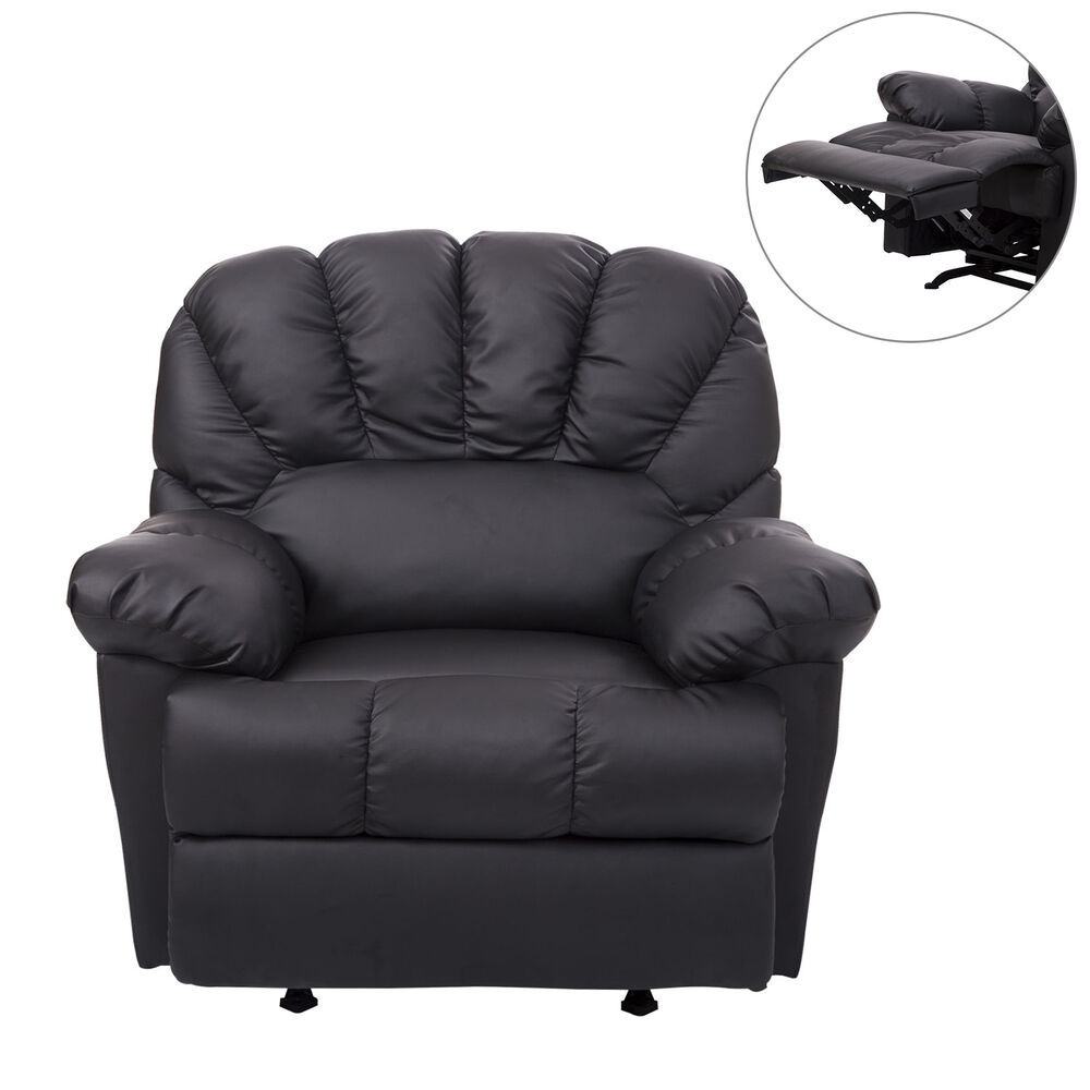 HomCom Leather Rocking Sofa Single Recliner Chair Black
