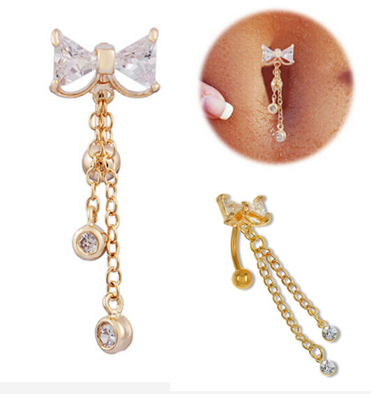Gold Reverse Belly Button Ring Dangle Body Navel Bar Clear ...