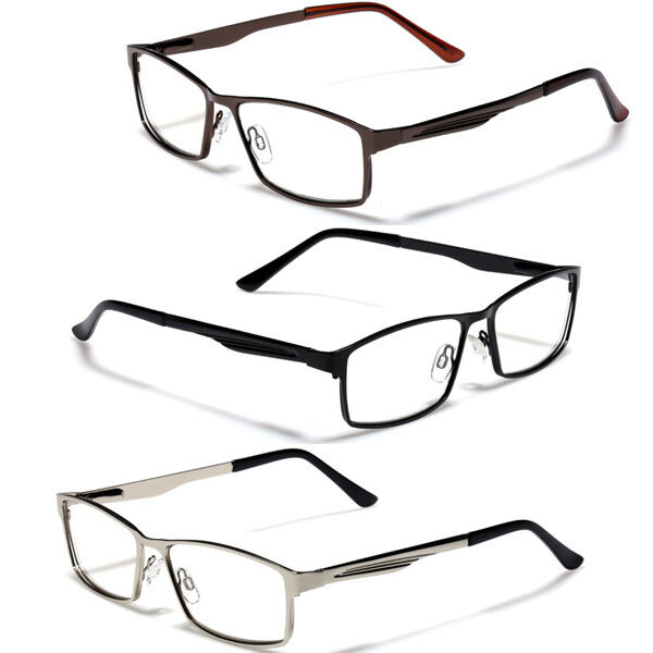 Large Rectangular Glasses Frame : Large Size Mens Metal Rectangle Reading Glasses Spring ...