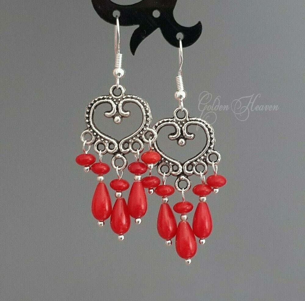 Red Coral Chandelier With 3 Lights: 925 Sterling Silver Hook Red Coral Chandelier Earrings