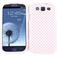 Pink and White Checkers Hard Cover Phone Case for Samsung Galaxy S 3 III i747