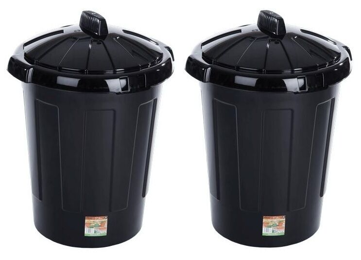 Kitchen Waste Basket Holder: 2 X 80L Black Waste Rubbish Kitchen Garden Plastic Bin