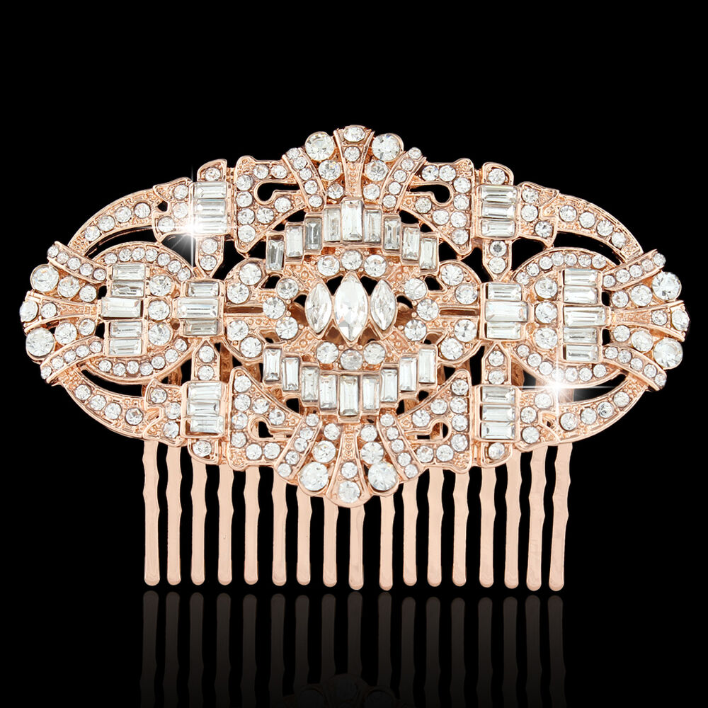 the great gatsby hair comb clear rhinestone crystal rose gold tone art deco ebay. Black Bedroom Furniture Sets. Home Design Ideas