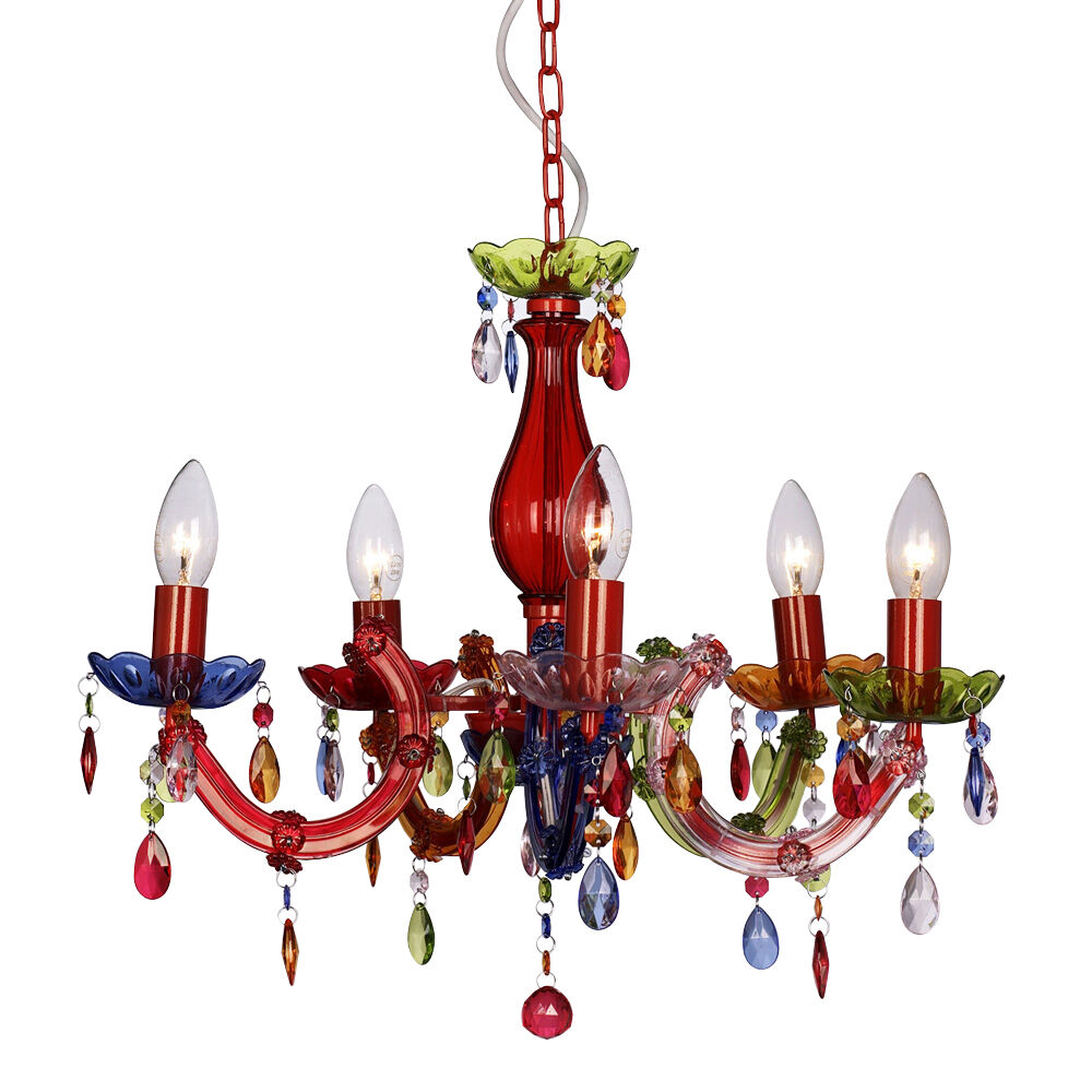 Modern multi coloured marie therese 5 way ceiling light gypsy chandelier lights ebay - Lights and chandeliers ...