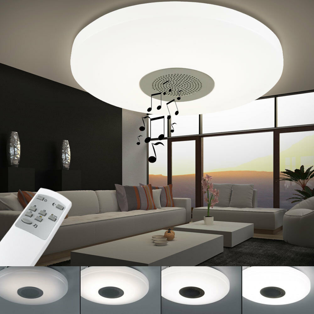 luxus smd led decken leuchte dimmer lampe bluetooth lautsprecher beleuchtung ebay. Black Bedroom Furniture Sets. Home Design Ideas