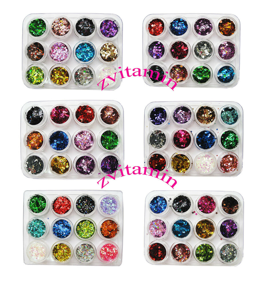 Nail Art Glitter Shapes Confetti Sequins Heart Square Acrylic Tips UV ...