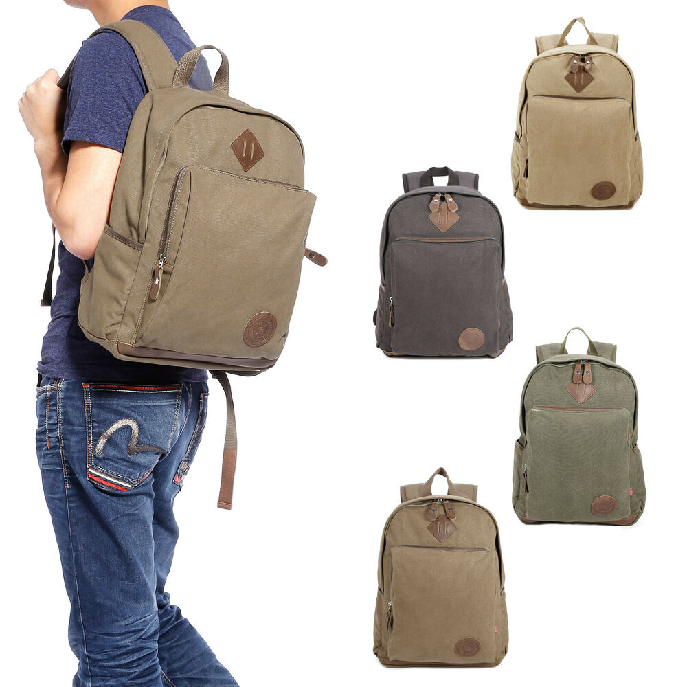 mens vintage canvas backpack satchel rucksack travel camping bag school bag ebay. Black Bedroom Furniture Sets. Home Design Ideas