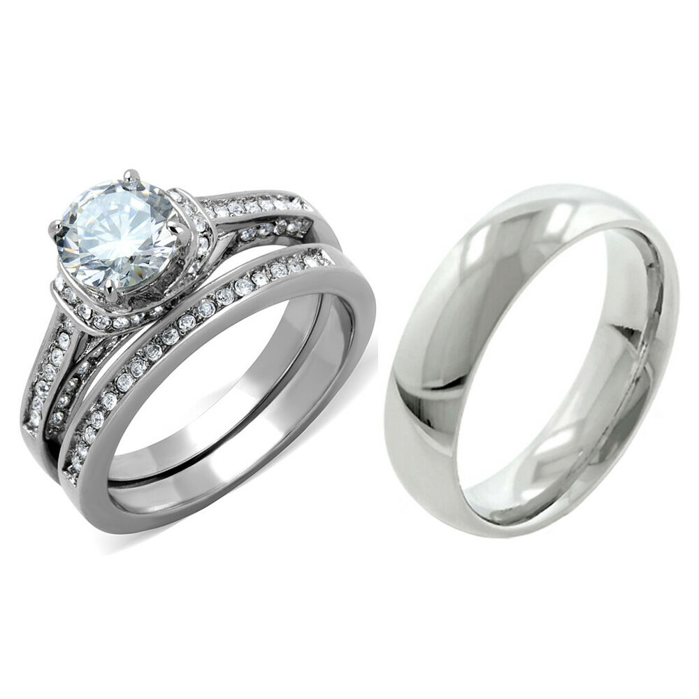 Stainless Steel Wedding Rings: 3 PCS Hers Luxury Round CZ Stainless Steel Wedding RING