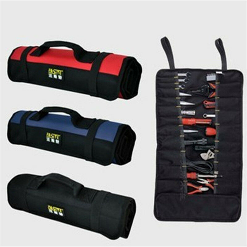 new canvas 8 10 21 pocket roll up pouch spanner wrench tool storage bag box case ebay. Black Bedroom Furniture Sets. Home Design Ideas