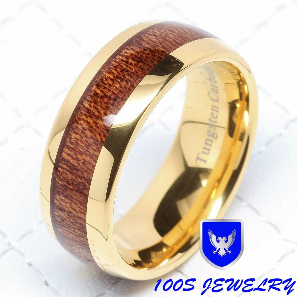 wedding band ring 8mm mens tungsten ring wood inlay 14k gold plated wedding 8421