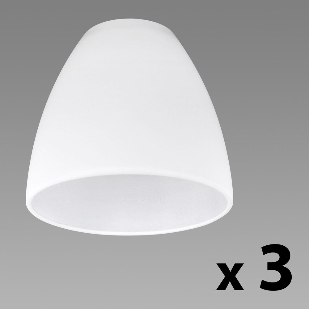 Set of 3 Frosted White Glass Replacement Ceiling Wall ...