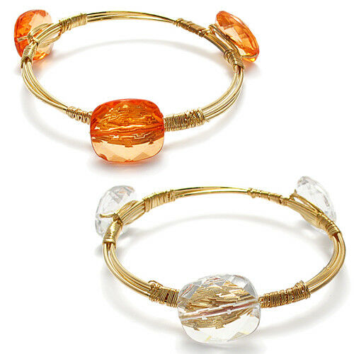 Gold Plated 8 Inch Stone Bangle Cuff Bracelet (Choose ...