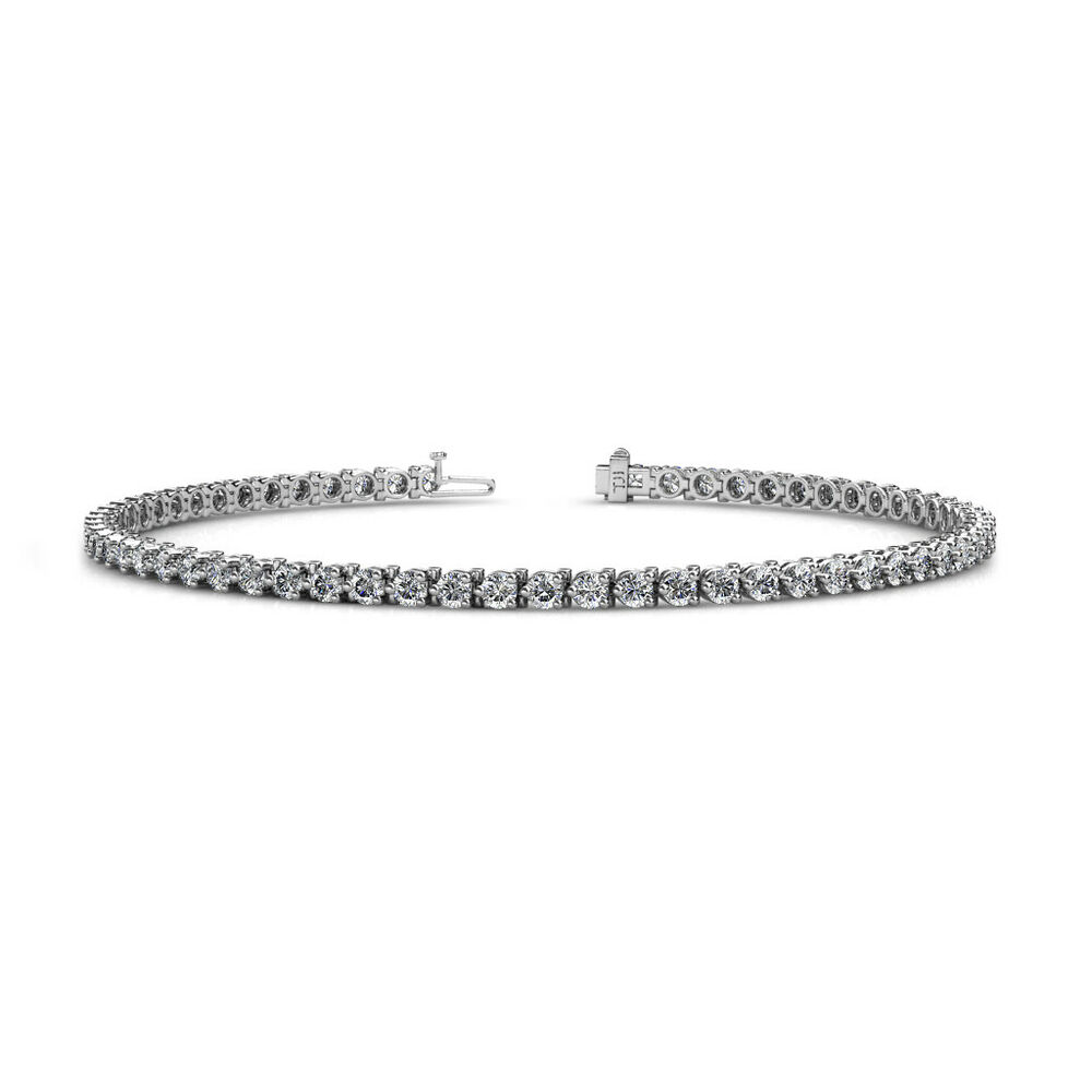 Diamond 3 Prong Women Tennis Bracelet S12 I1 G H 3 18