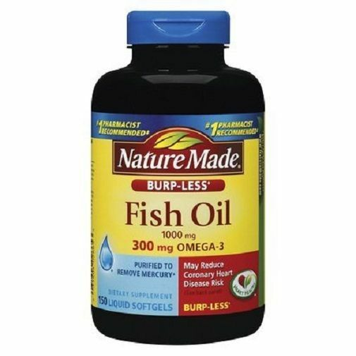 Nature made fish oil omega 3 1000 mg 150 liquid softgels for Fish oil 1000 mg