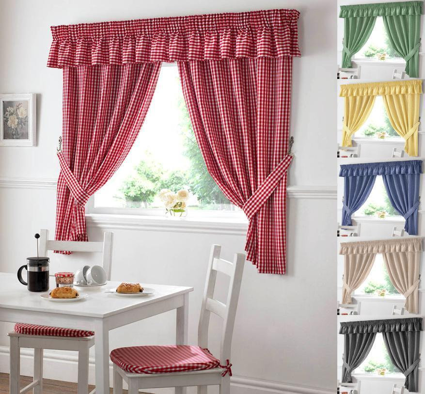 GINGHAM CHECK KITCHEN CURTAIN
