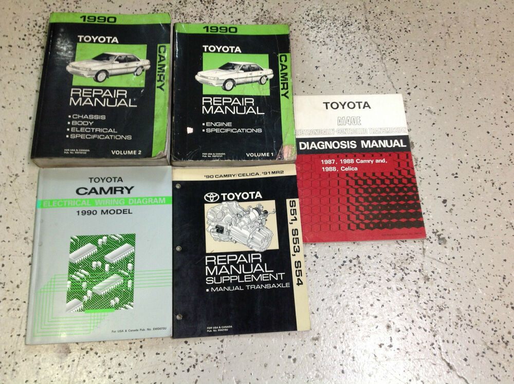 1990 toyota camry service repair shop manual set w wiring transaxle books oem ebay. Black Bedroom Furniture Sets. Home Design Ideas