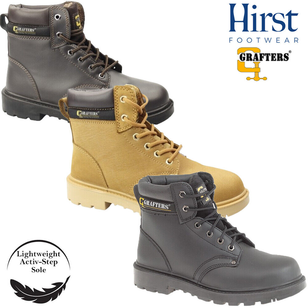 grafters steel toe safety work boots size uk 4 16 mens