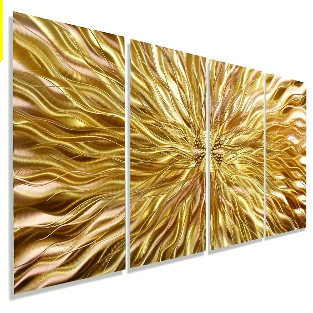 Modern hand painted abstract metal panel wall art copper for Copper wall art