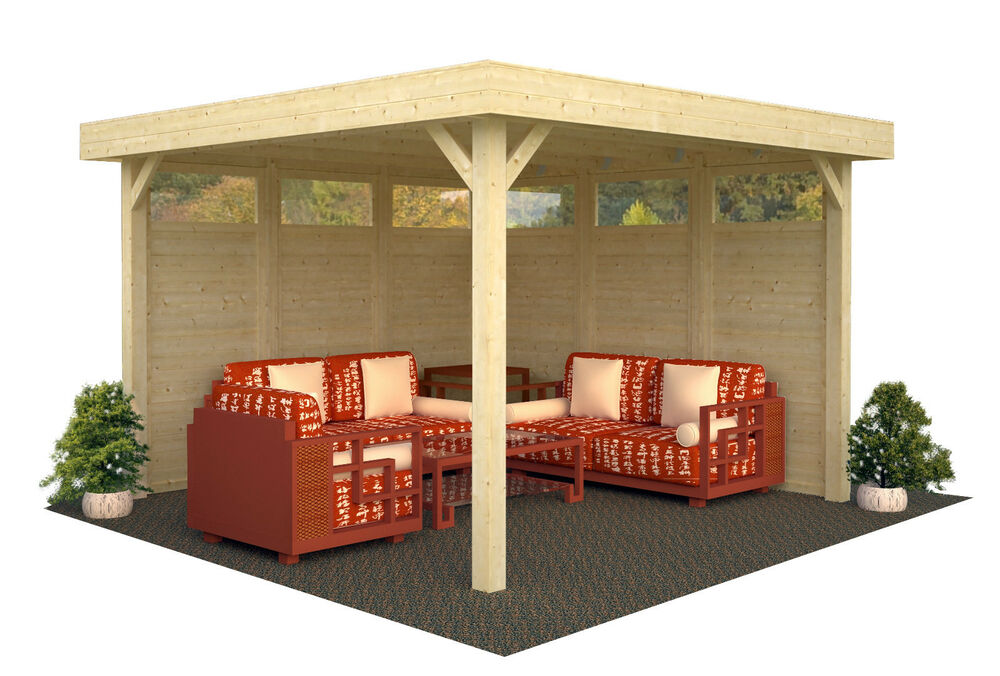 pavillon lucy 349x349 cm pavillon holzhaus schuppen gartenhaus unterstand holz ebay. Black Bedroom Furniture Sets. Home Design Ideas