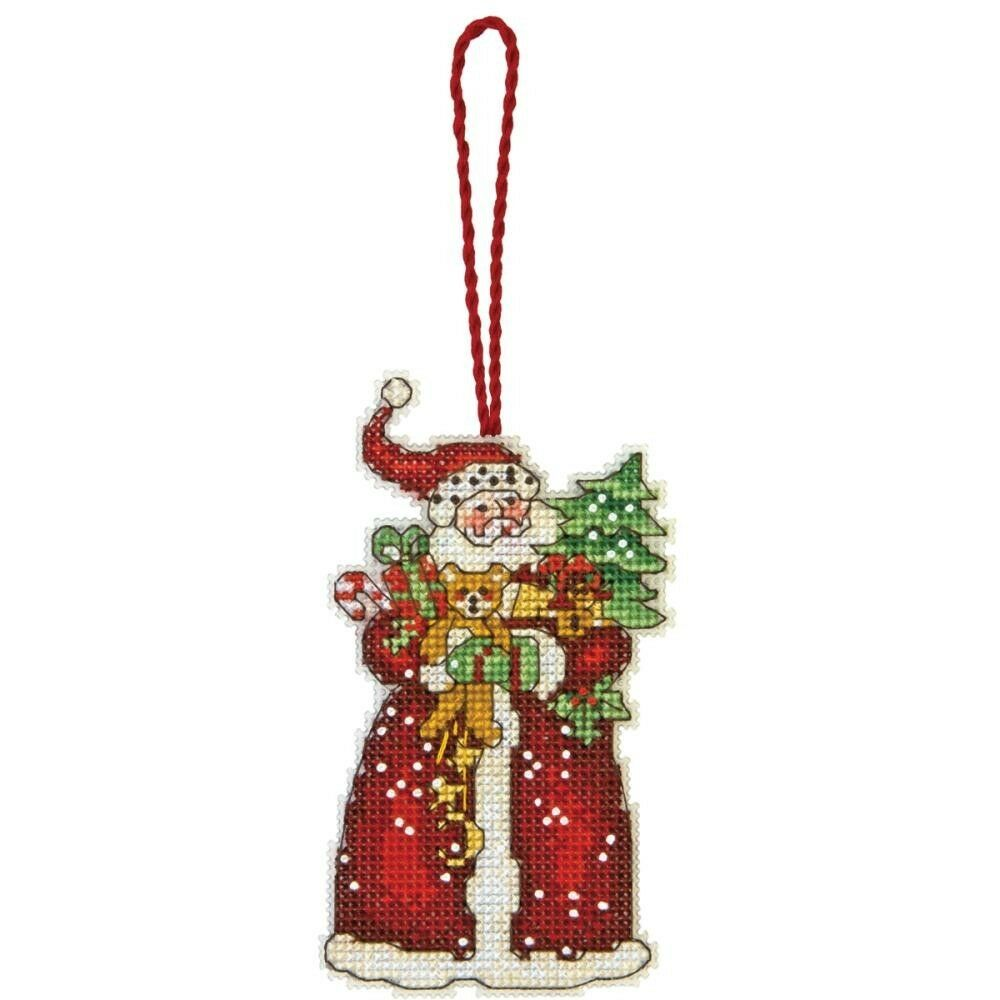 Santa With Tree and Gifts Christmas Tree Ornament Counted ...