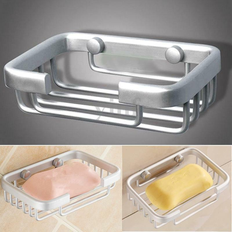 Wall mounted bathroom bath shower soap aluminium holder dish square basket ebay for Wall mounted soap dishes for bathrooms