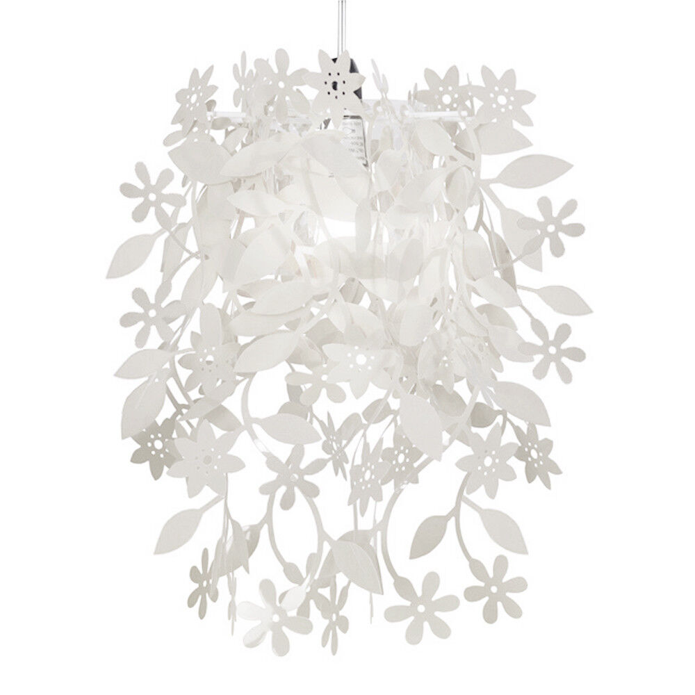 white shabby n chic floral ceiling pendant light lamp. Black Bedroom Furniture Sets. Home Design Ideas
