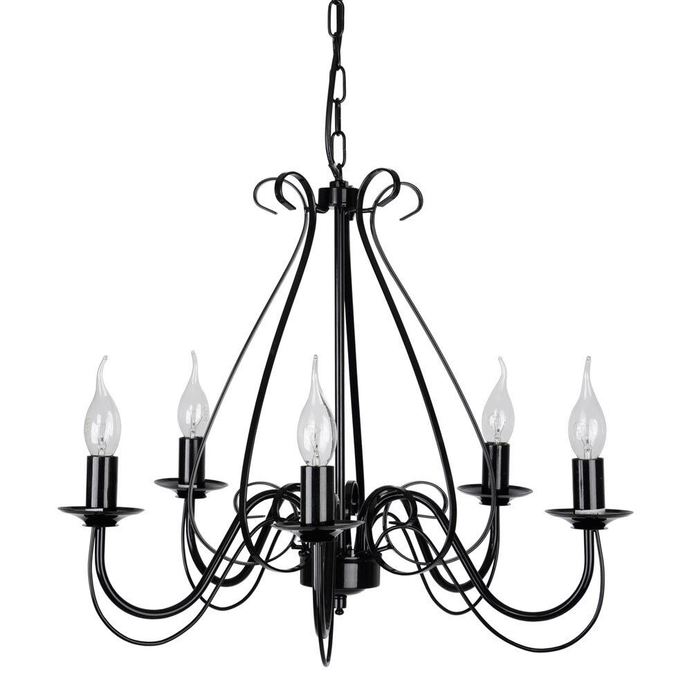 large modern black metal 5 way ceiling pendant light chandelier fitting lights