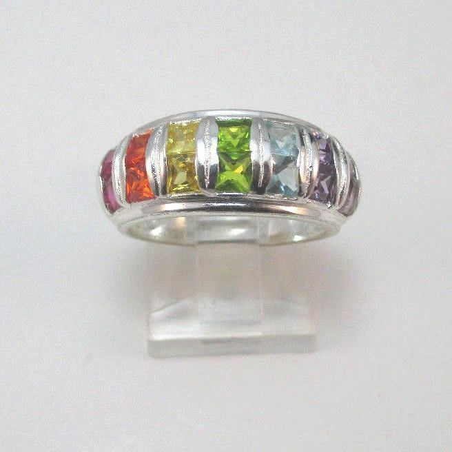 Sterling Silver Rainbow Colored Cz Cubic Zirconia Stones