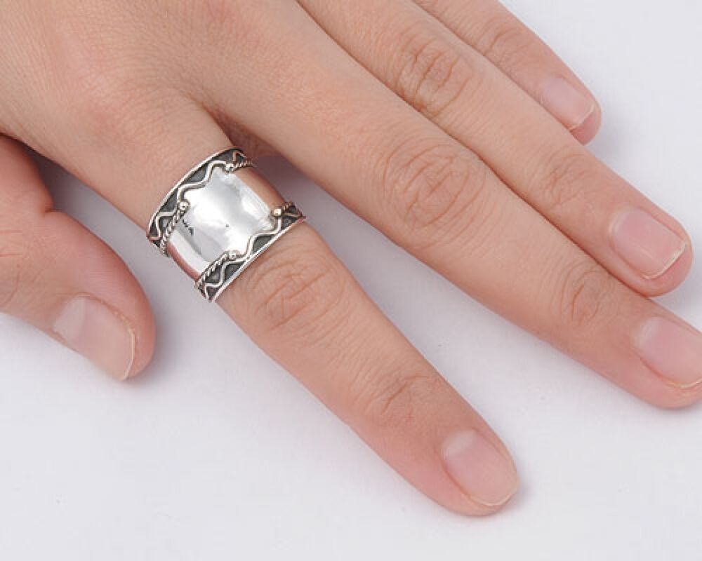 Bali Design Ring Sterling Silver 925 Tribal Wide Band Best Jewelry
