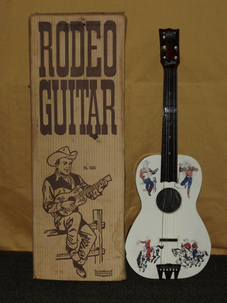 vintage western cowboy usa toy 1950s emenee rodeo guitar in box ebay. Black Bedroom Furniture Sets. Home Design Ideas