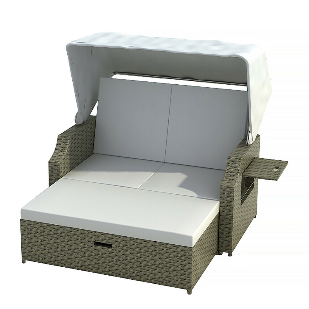 strandkorb cuxhaven grau beige polyrattan gartenm bel liege neu ebay. Black Bedroom Furniture Sets. Home Design Ideas