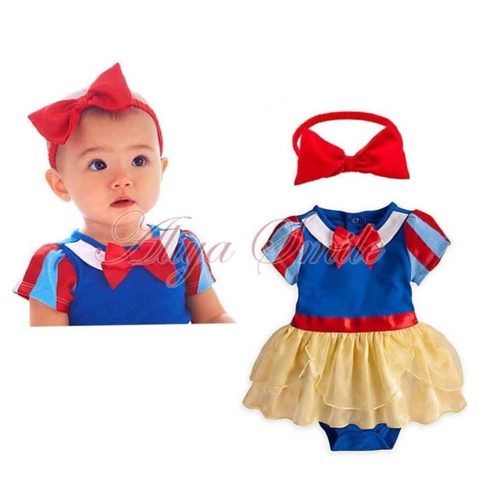 baby girls photo prop headband romper dress snow white costume outfits sz 0 18m ebay. Black Bedroom Furniture Sets. Home Design Ideas