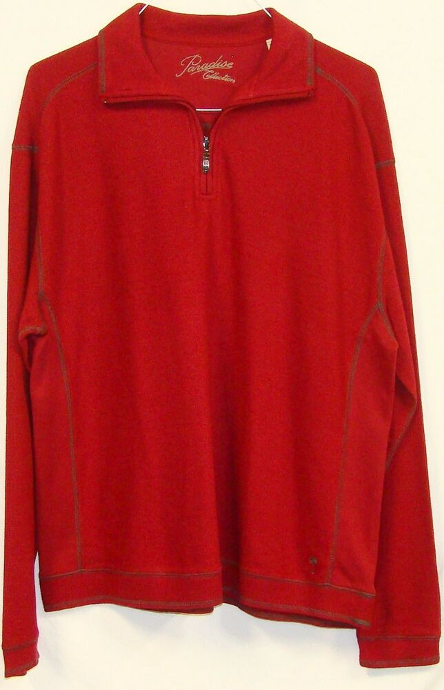 Paradise collection mens red long sleeve 1 4 zip pullover for Mens long sleeve pullover shirts