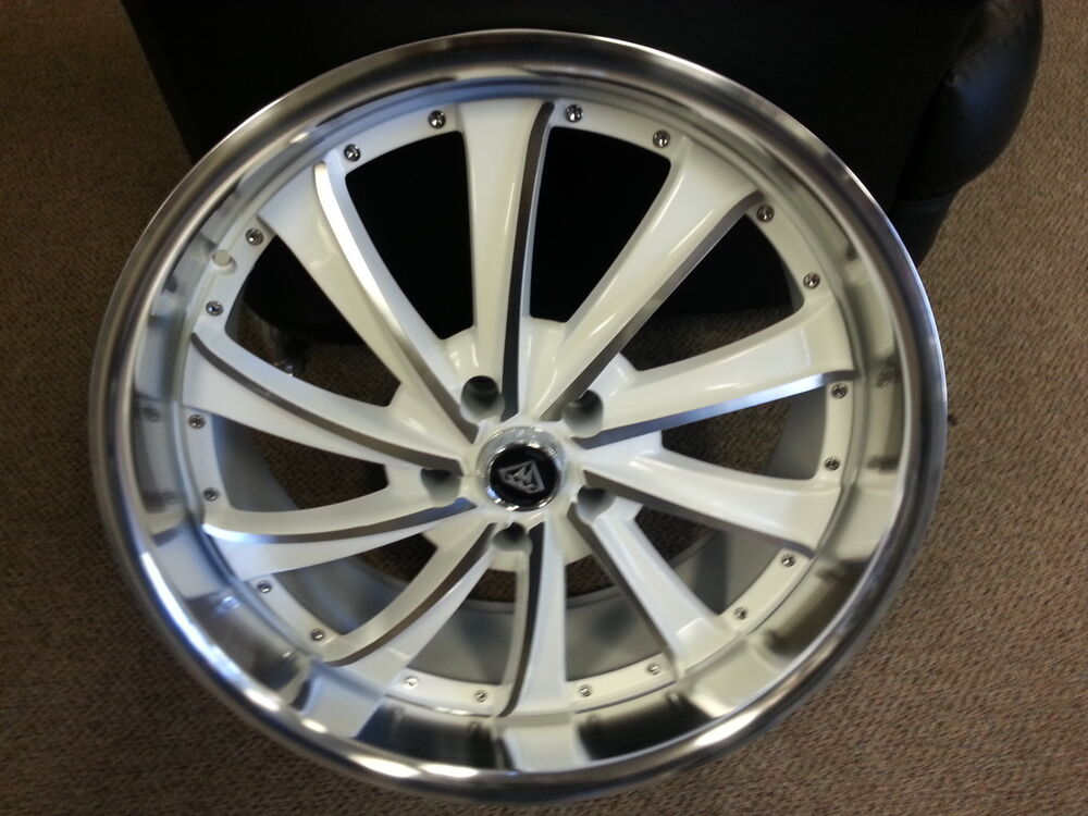 White Challenger Black Rims >> 22 X 9.5 White Machine Style 0016 wheels Rims fit 300 ...