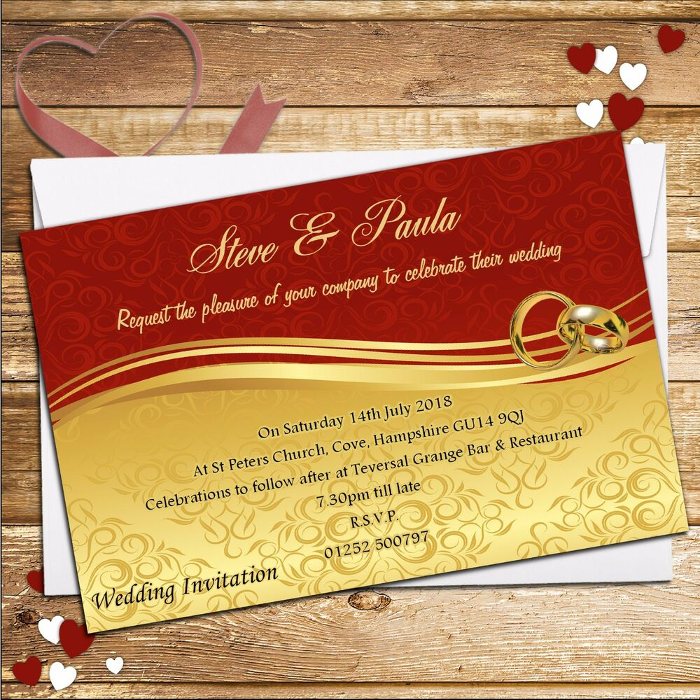 10 Personalised Red and Gold Scroll Wedding Invitations Day or ...