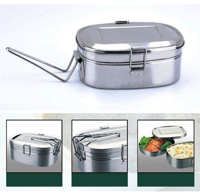 2 Layer Stainless Steel Rectangle Shape Mess Tin Bento