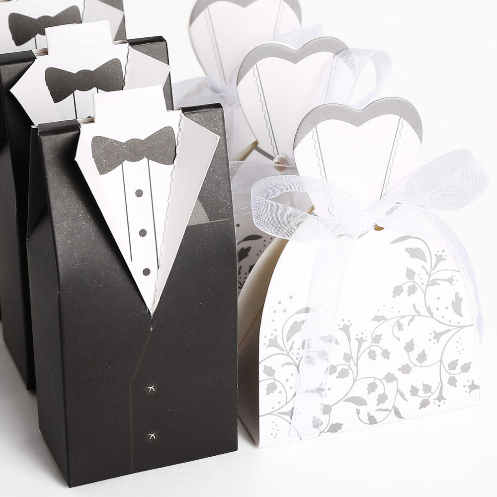 Black amp white in pairs bride and groom wedding candy boxes 100 200pcs