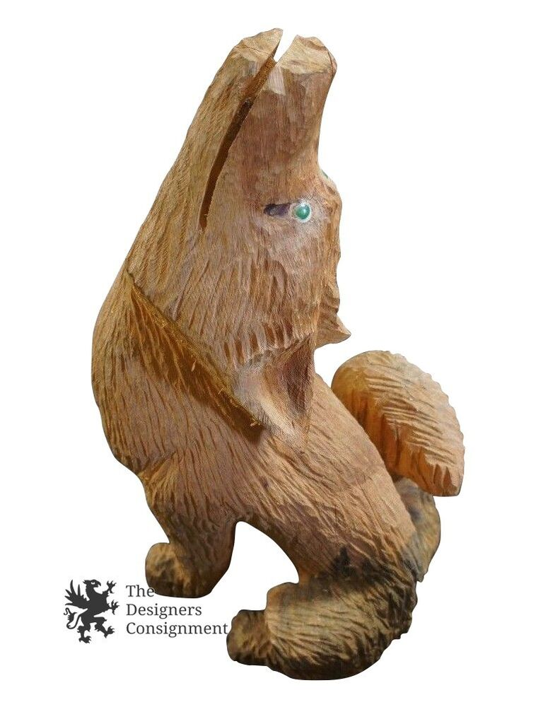 Vintage hand carved rustic pine howling wolf statue
