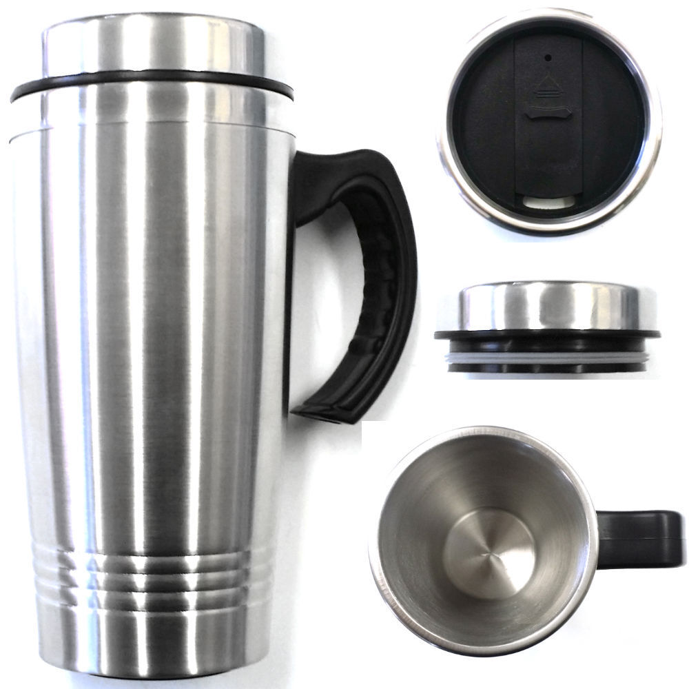 16oz double wall stainless steel coffee cup whandle insulated travel mug tumbler ebay. Black Bedroom Furniture Sets. Home Design Ideas