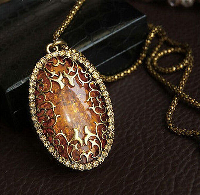 Vintage Amber Hollow Long chain Sweater Pendant Necklace ...