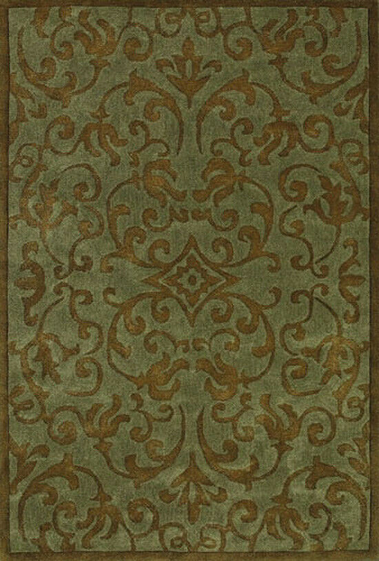 4x6 Sphinx Scroll Handmade Green Persian 84113 Area Rug