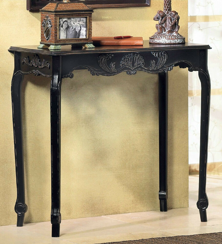 Foyer Console Furniture : Tables black entry foyer sofa console hall accent wood