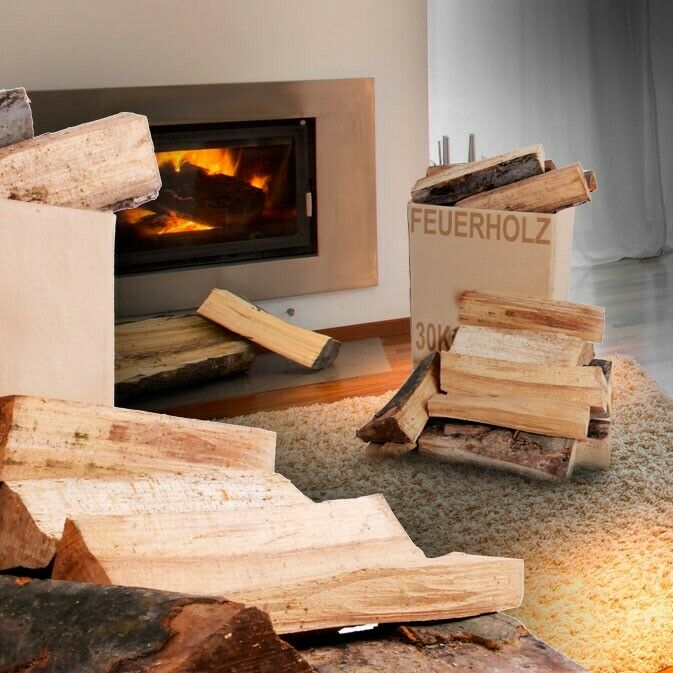 30 kg karton holz grill ofen kamin heizung brennholz feuer. Black Bedroom Furniture Sets. Home Design Ideas