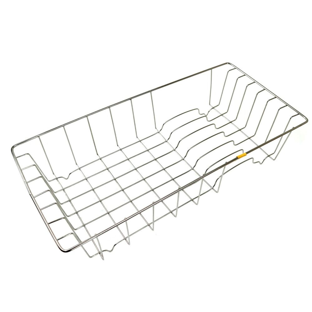 new stainless steel wire dish drying rack sink drainboard kitchen organizer ebay. Black Bedroom Furniture Sets. Home Design Ideas