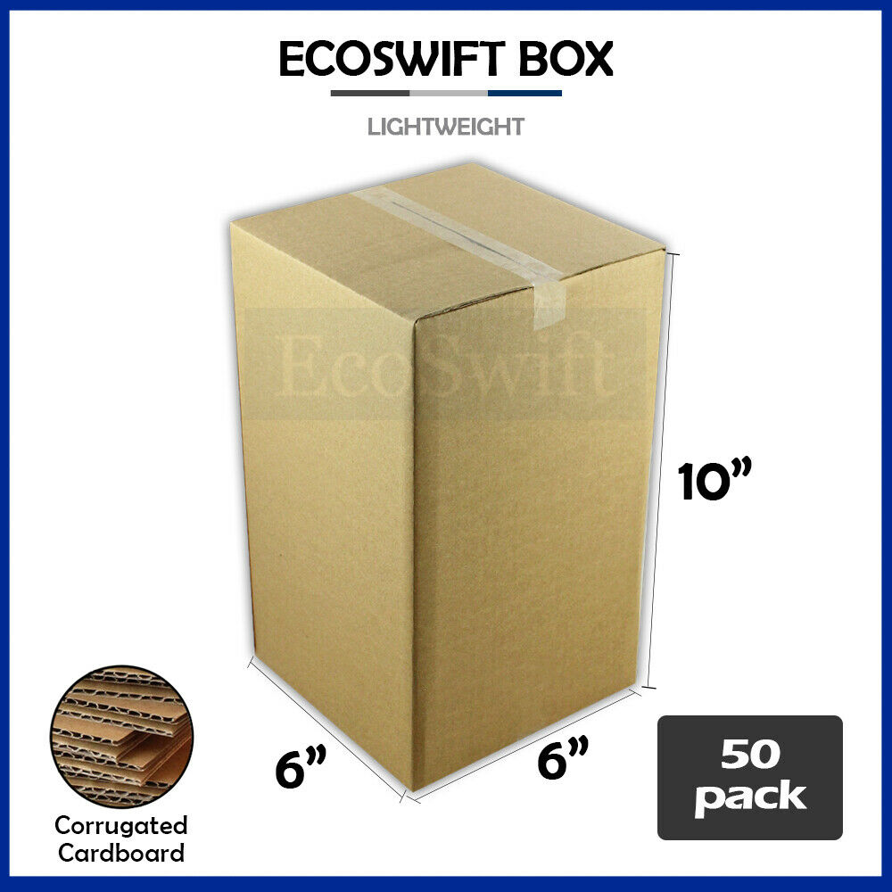 50 6x6x10 cardboard packing mailing moving shipping boxes. Black Bedroom Furniture Sets. Home Design Ideas