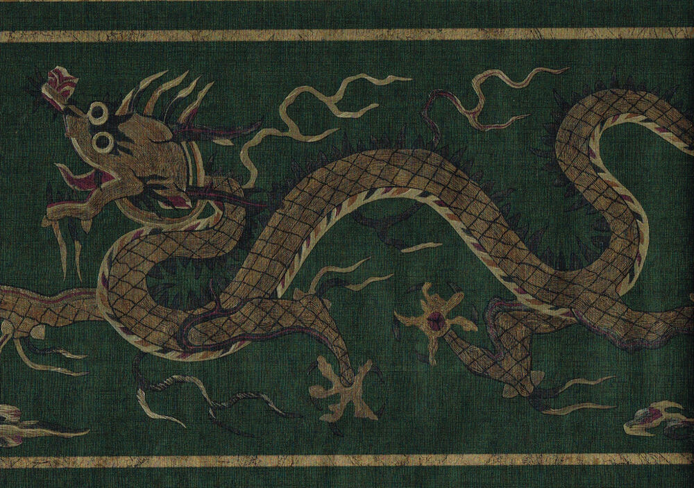 Chinese dragon asian design theme oriental green gold 13 for Oriental style wallpaper uk