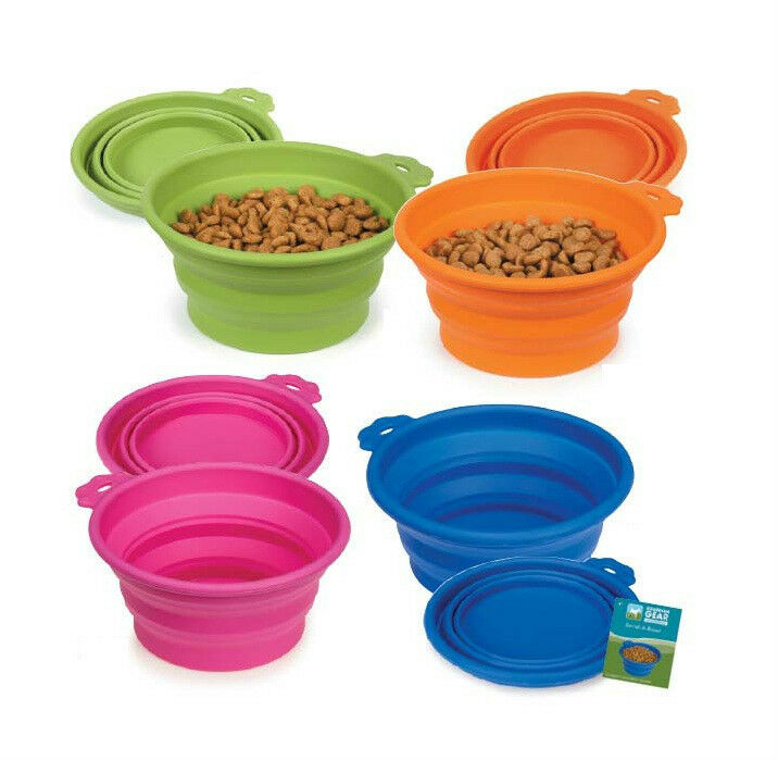 Portable Dog Pet Travel Collapsible Food Water Bowls Pets: PORTABLE DOG BOWL Bend-A-Bowls Collapsible Food And Water