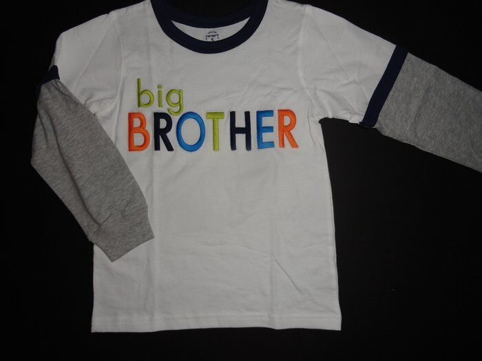 Nwt carter 39 s 5 big brother white long sleeve t shirt top for Big brother shirts for toddlers carters