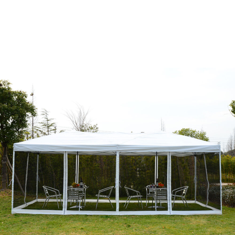 outsunny 10 39 x 20 39 outdoor pop up party tent canopy gazebo mesh side walls beige ebay. Black Bedroom Furniture Sets. Home Design Ideas